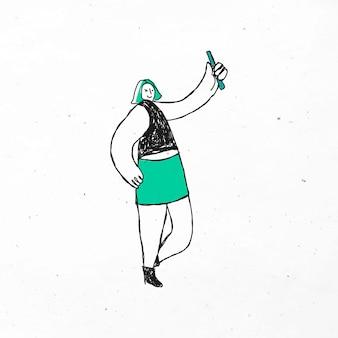 Mão verde desenhada com desenho de doodle