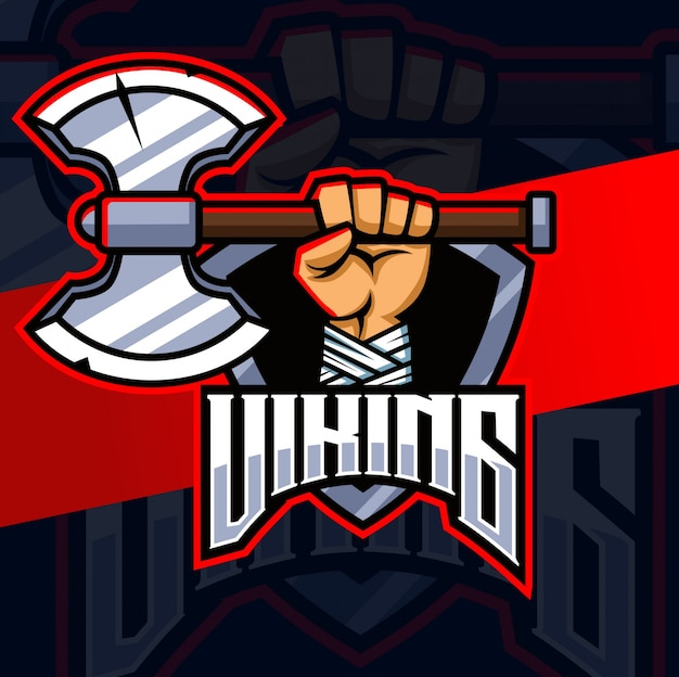 Mão viking com design de logotipo esport mascote machado
