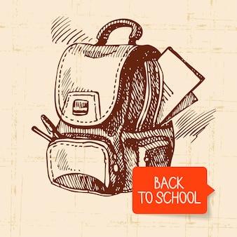 Mão vintage desenhada de volta para ilustração da escola