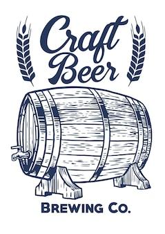 Mão vintage desenhando ilustração plana de barril de cerveja