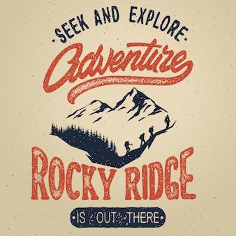 Mão vintage desenhar logotipo com elementos de caligrafia. cartaz de aventura.