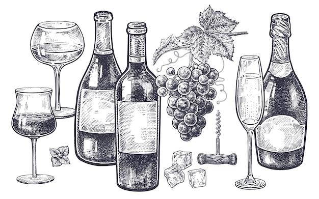 Mão vintage desenho sobre o assunto do álcool.
