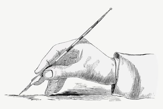 Mão vintage escrevendo em um vetor de ilustração de papel, remixado de obras de arte de domínio público.