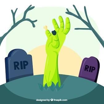 Mão zombie emergente da sepultura