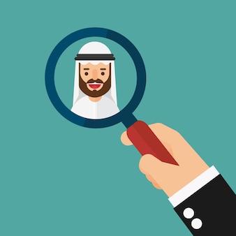 Mão, zoom, lupa, colheita, árabe, homem negócios