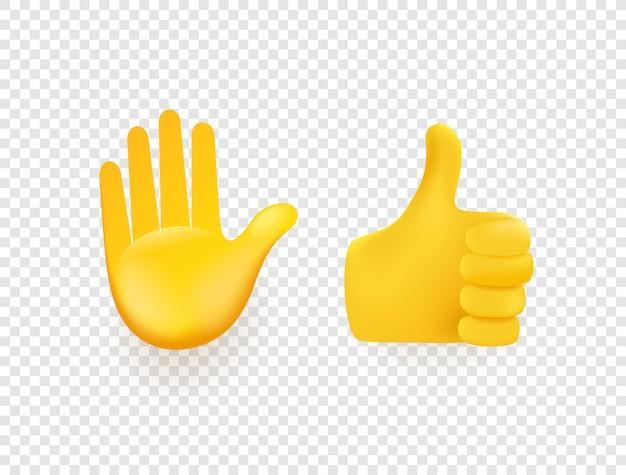 Mãos 3d amarelas isoladas