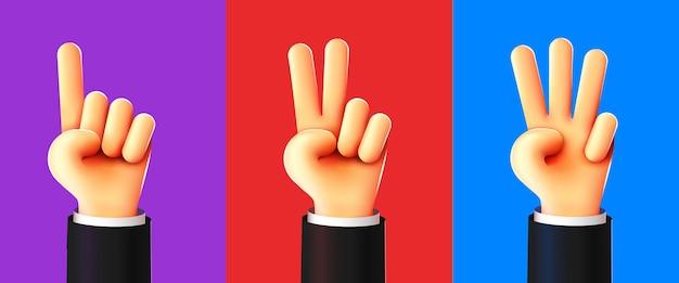 Mãos 3d fofas contando um dois três