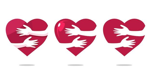 Mãos abraçando os símbolos do coração