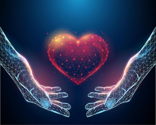 Mãos abstratas segurando um coração vermelho. design de estilo low poly. estrutura de conexão de luz wireframe.