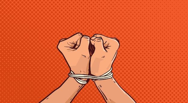 Mãos, amarrada, com, corda, isolado, esboço, ligado, vindima, arte pop
