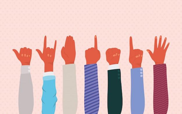 Mãos ao alto de diferentes tipos de design de skins, diversidade de pessoas, raça multiétnica e tema comunitário