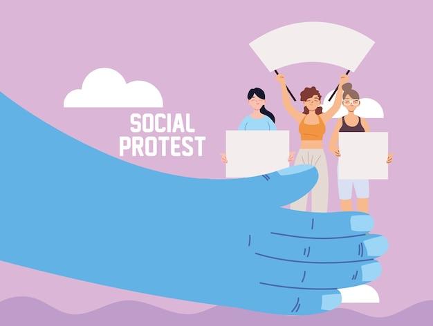 Mãos apoiando mulheres com cartazes e megafone em um protesto social
