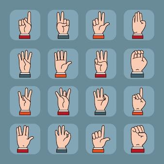 Mãos assinam conjunto de ícones de linguagem e expressões.