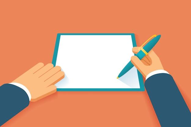 Mãos assinam contrato. documento de acordo em papel