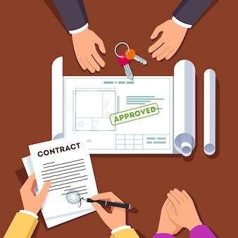 Mãos assinando contrato de casa ou apartamento