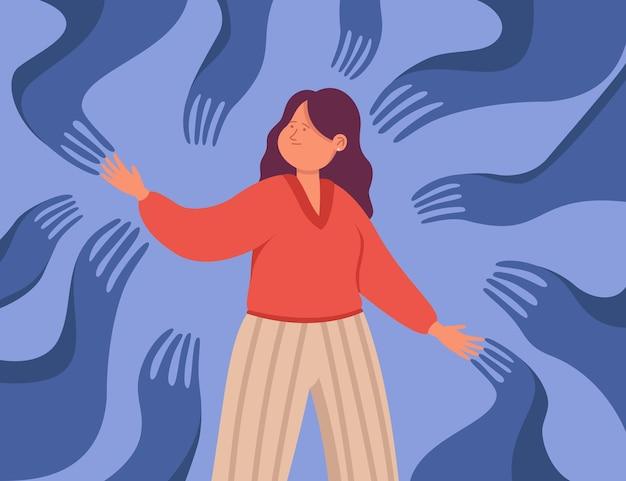 Mãos assustadoras rastejando em direção à personagem feminina de desenho animado