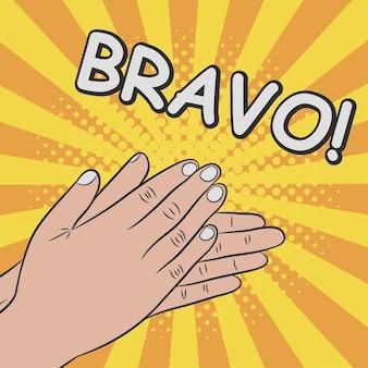 Mãos batendo palmas, aplausos. bravo comics ilustração em estilo pop art retro em fundo sunburst