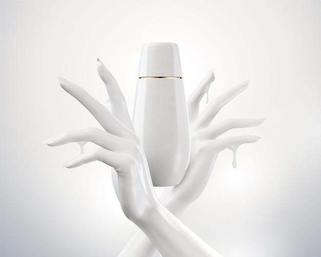 Mãos brancas elegantes com frasco cosmético em ilustração 3d