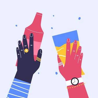 Mãos brilhantes segurando a mão da bebida com uma garrafa de vinho a mão com um copo de cerveja arte moderna