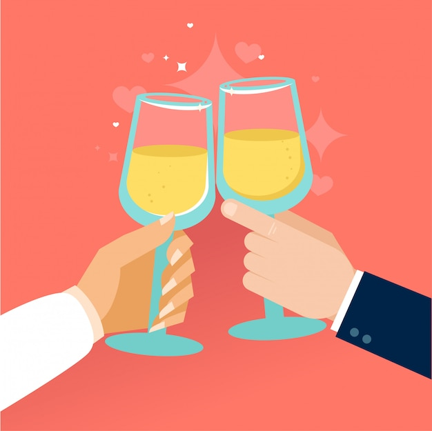 Mãos brindando com um copo de vidro