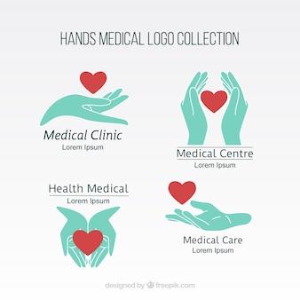 Mãos coleção logotipo médico