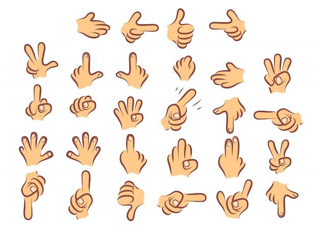 Mãos coloridas caricaturadas