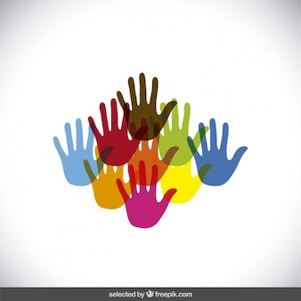 Mãos coloridas silhuetas