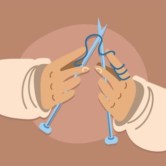 Mãos com agulhas de tricô