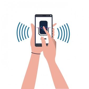 Mãos com assistente de smartphone e voz