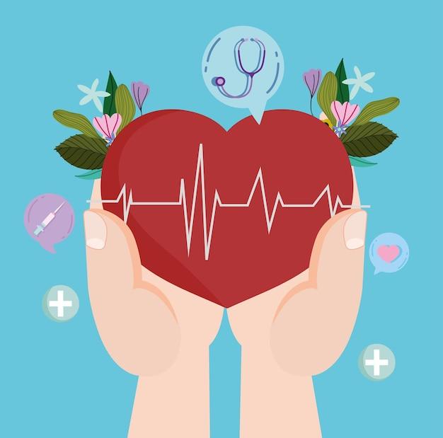 Mãos com batimento cardíaco