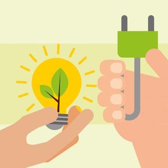 Mãos com bulbo e plug ecologia de energia
