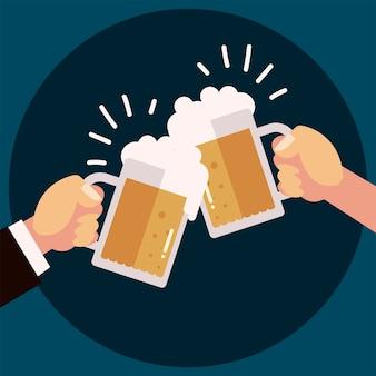 Mãos com canecas de cerveja celebração celebração de álcool, ilustração de alegria