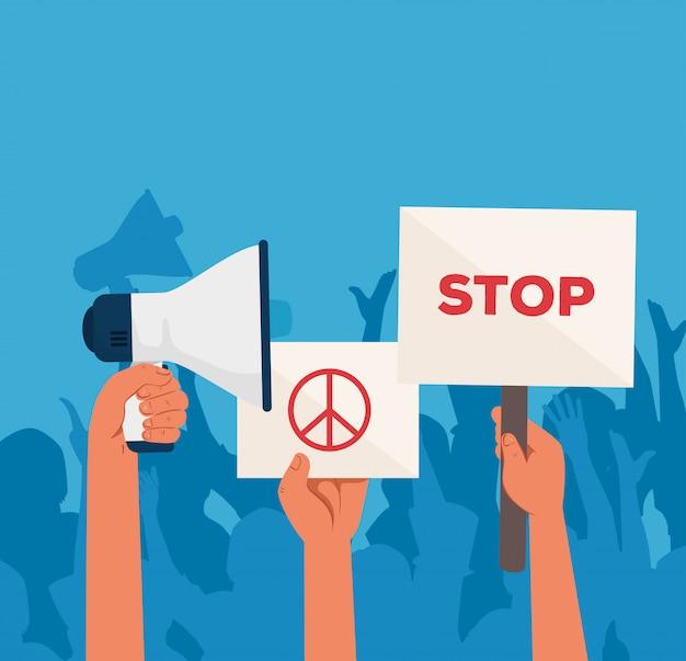 Mãos com cartazes de protesto e megafone, ativista com placa de manifestação de greve