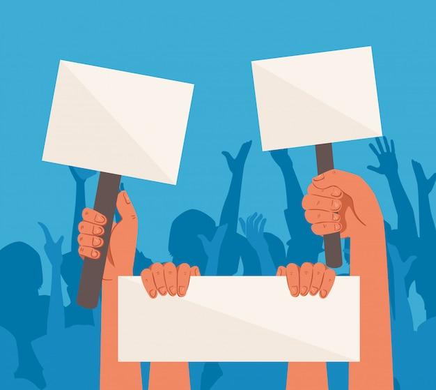 Mãos com cartazes de protesto, segurando faixas, ativista com placa de manifestação de greve, conceito de direitos humanos