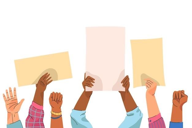 Mãos com cartazes em branco