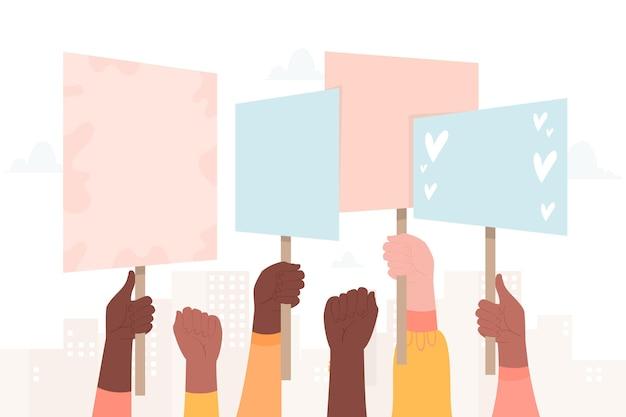 Mãos com cartazes multidão protestando