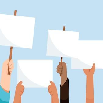 Mãos com cartazes no ar