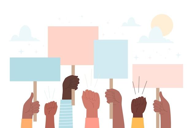 Mãos com cartazes pessoas protestando
