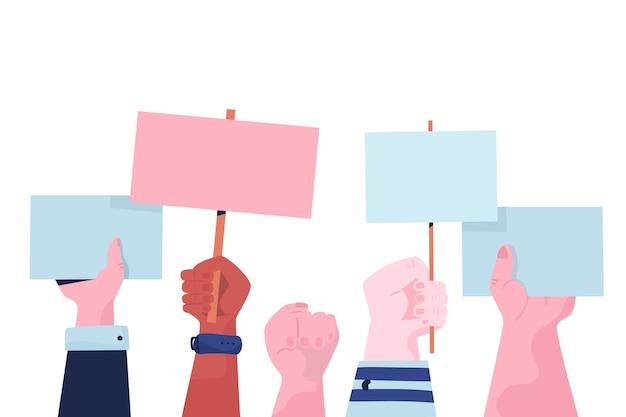 Mãos com cartazes