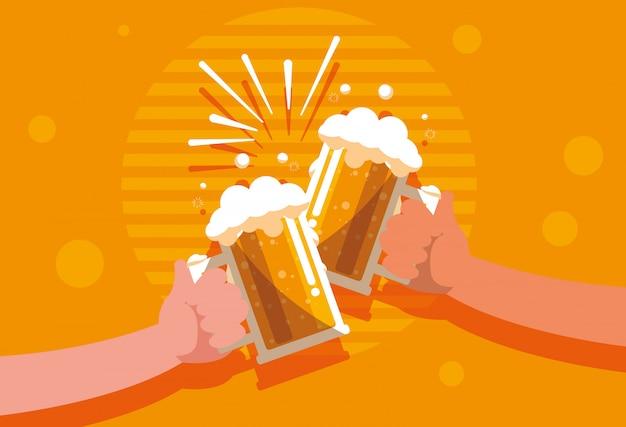 Mãos, com, cervejas, jarros, brinde, isolado, ícone