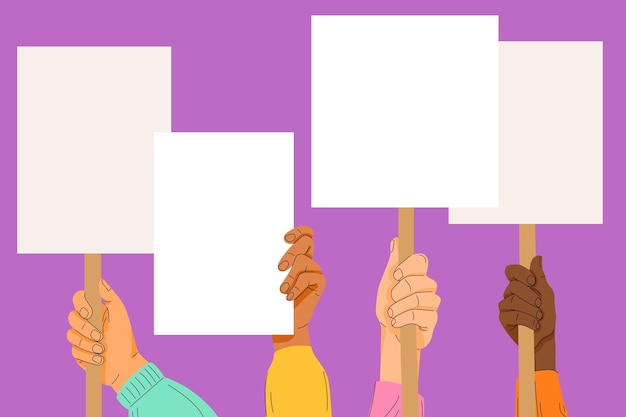 Mãos com conceito de cartazes