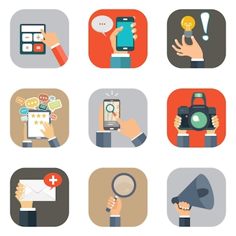 Mãos com conjunto de ícones de objetos de negócios