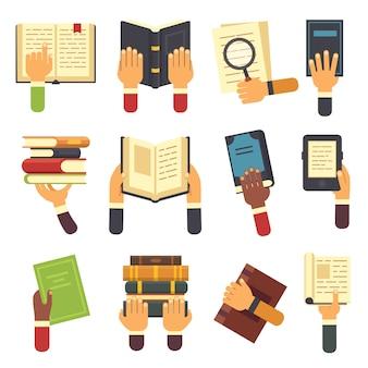 Mãos com conjunto de livros