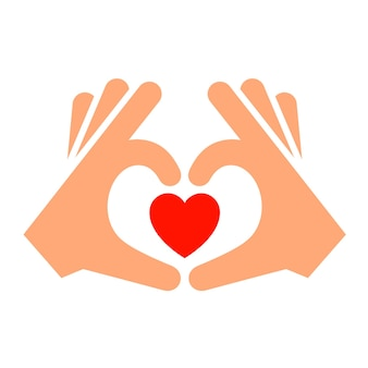 Mãos com coração novo ícone, silhueta de dois tons,