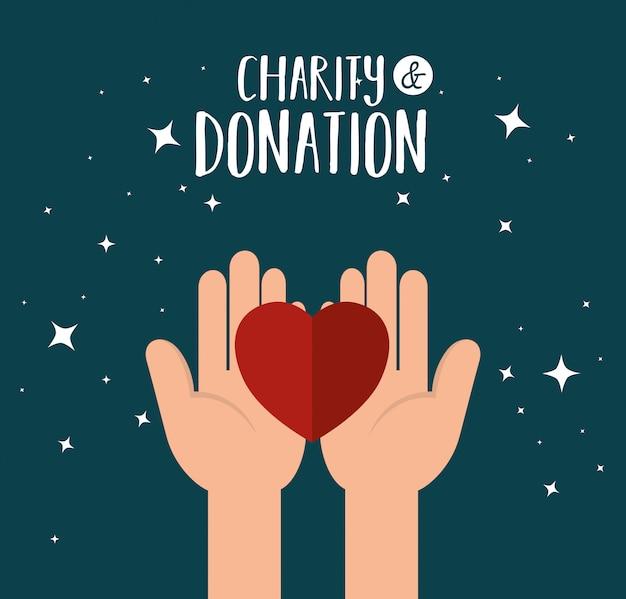Mãos com coração para doação de caridade