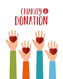 Mãos com corações para doação de caridade