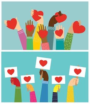 Mãos com corações.