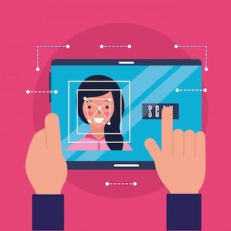 Mãos com digitalização de rosto de mulher móvel