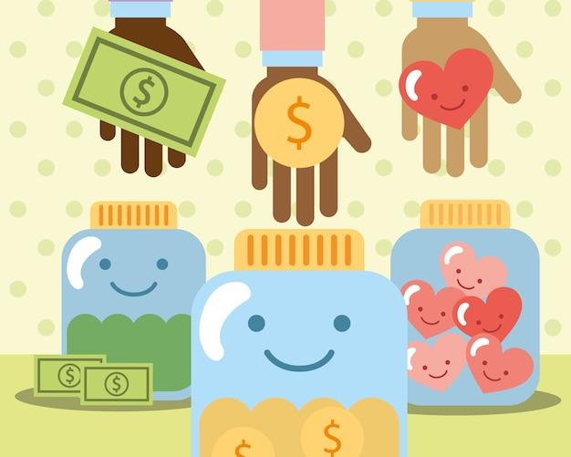 Mãos com dinheiro coração em vidro caridade