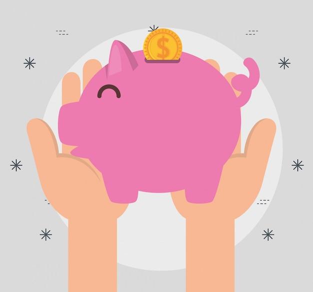 Mãos com dinheiro porquinho para doação de caridade